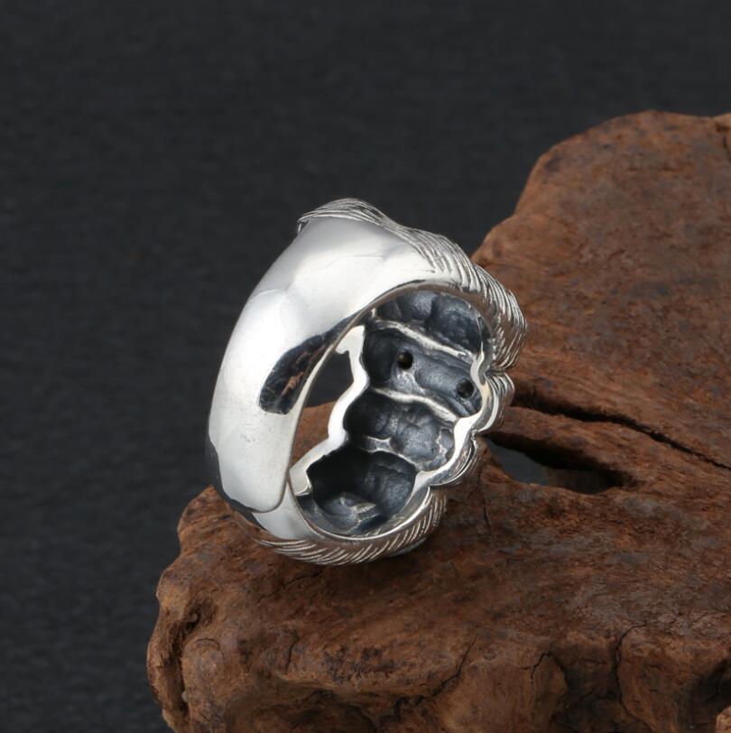 100% 925 argent crâne anneau croix symbole anneau en argent Sterling crâne homme anneau redimensionnable - 3