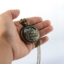 Charming Carved Train Steampunk Pocket Watch Openable Hollow Quartz Watch Classic Men Women Necklace Pendant Chain Gift(China)