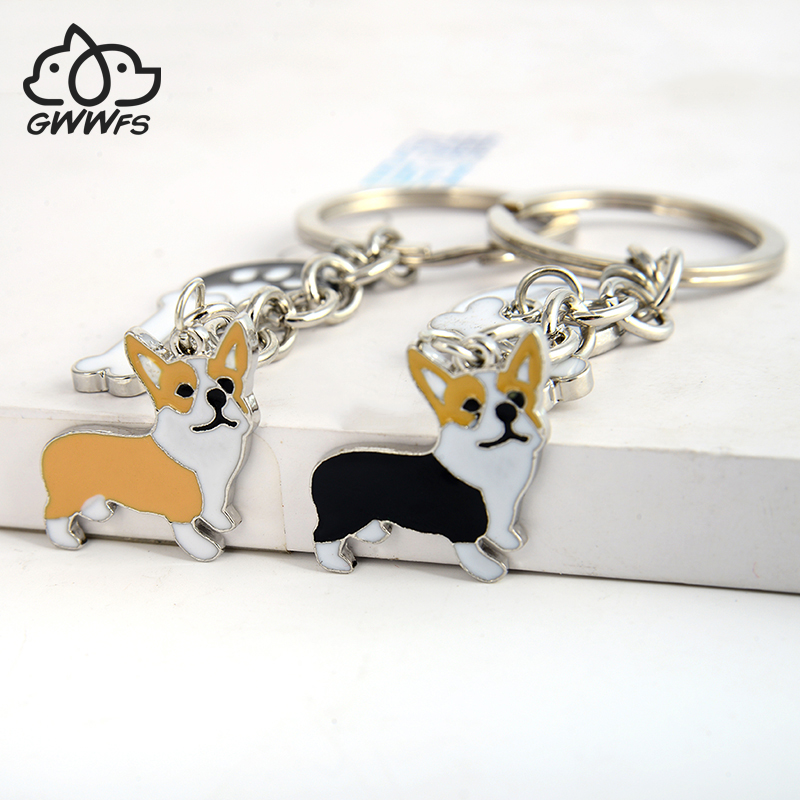 Welsh Corgi Pembroke Key Chains For Women Men Girls Silver Color Metal Pet Dog Pendant Keyring Bag Charm Car Keychain Key Ring