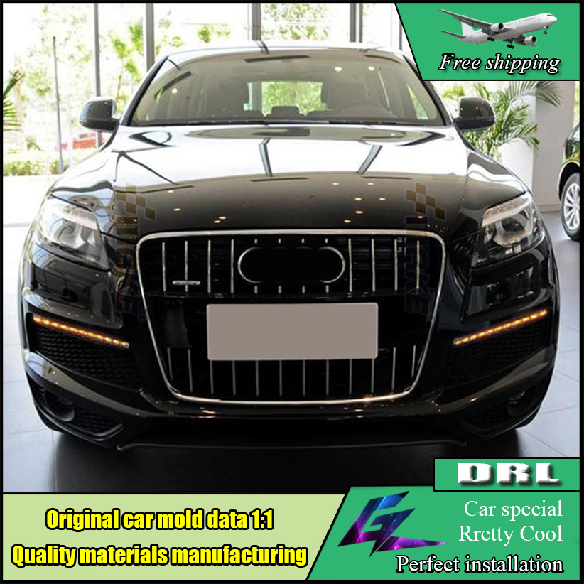 Car Styling Led Daytime Running Light Fog Lamp Cover Super Brightness Waterproof DRL With Turn Signal For Audi Q7 2006 - 2009 new auto car led daytime running lights drl yellow turn signal fog lamp for audi q7 2006 2007 2008 2009