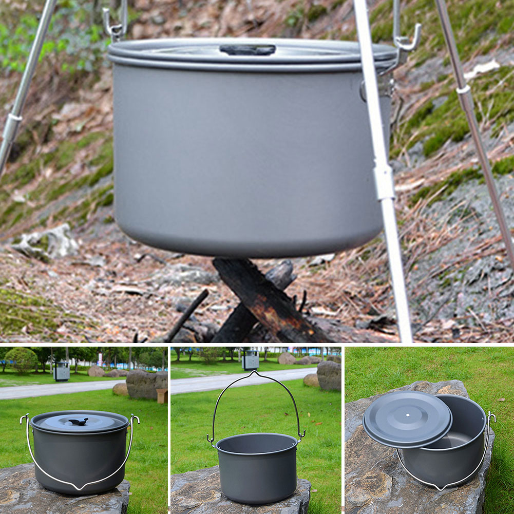 2019 New Outdoor Single Pot Aluminum Alloy Camping Pot 5-8 Marching Pot Picnic Cauldron