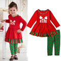 Girls Christmas New Design Outfits Baby Kidswear Little Deer Clothes Red Dress+Dot Pants 2PCS Girl Christmas Clothing Sets