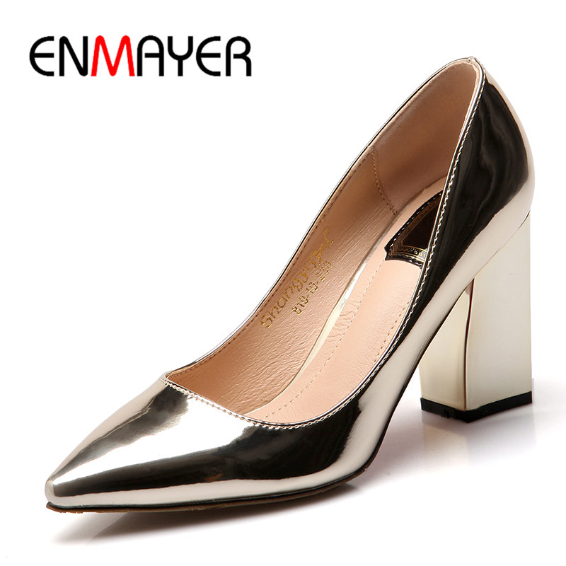 ENMAYER 2017 Shallow Summer Pumps Shoes Woman High Heels Pointed Toe Womens Shoes Golden Plus Size 34-43 Wedding Party Shoe plus size 2017 new summer suede women shoes pointed toe high heels sandals woman work shoes fashion flowers womens heels pumps