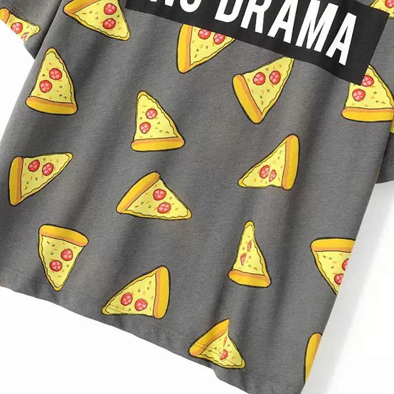 Women Pizza letters print T shirt cute Cake NO DRAMA tops short sleeve shirts casual camisas femininas tops DT172