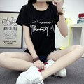 2017 Camiseta Del Verano Las Mujeres Camiseta de La Moda Encabeza Carta Corona Impreso Manga Corta Camiseta Mujeres Tops