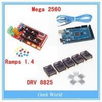 3D Printer 1pcs Mega 2560 R3 1pcs RAMPS 1 4 Control Panel 5pcs DRV8825 Stepper Motor