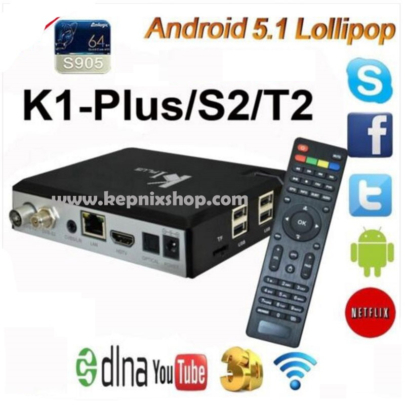 K1 Plus S2 T2 Android TV Box CAM Amlogic S905 Quad Core Hybrid Set Top Box k1 plus s2 dvb-t2 android 1G 8G H.265 KII PRO антенна hite pro hybrid box
