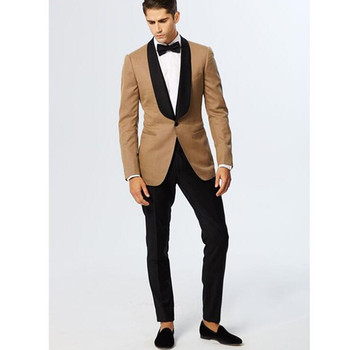 Gold Slim Fit Men Suit With Black Shawl Lapel Two Piece Blazer Custom Made Tuxedo Groom Prom Party Suits