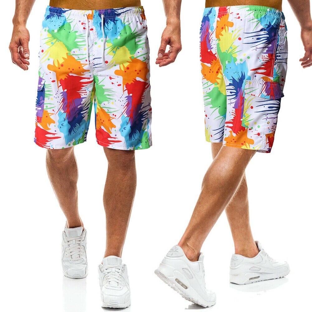 Men Summer Beach Shorts Multi-color Elastic Swim Trunks Graffiti Style Casual Loose Short Pants