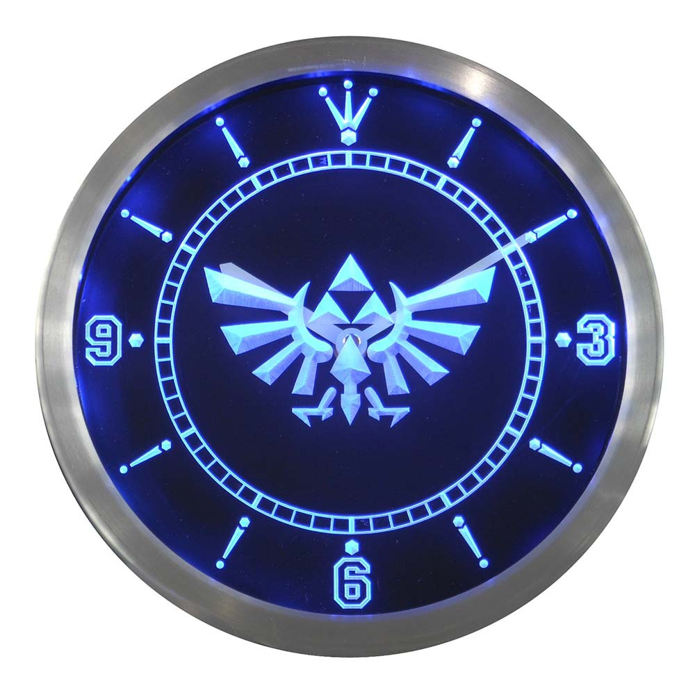 Nc0204 Legend Of Zelda Triforce Enseigne Au Néon Horloge Murale LED