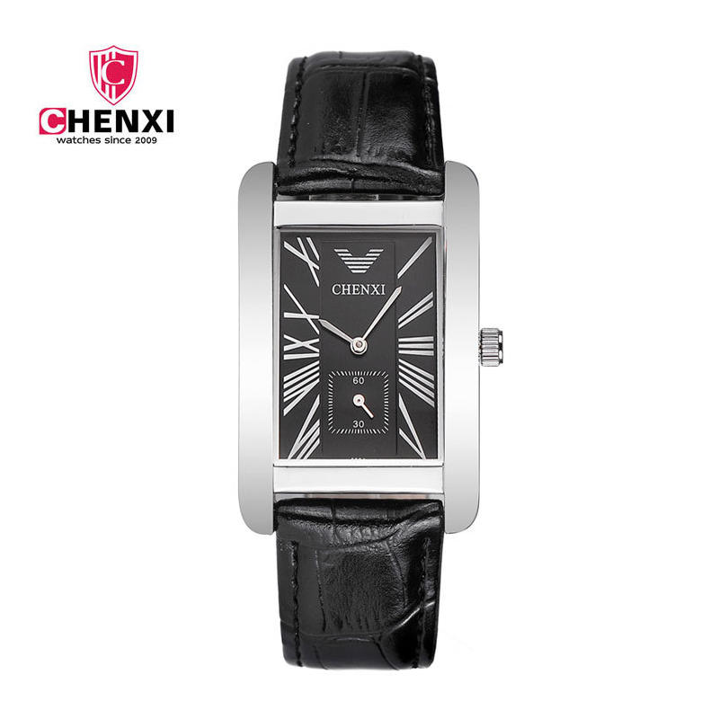 Luxury Men Watches CHENXI Silver Black Roman Numerals Antique Square Waterproof Quartz Dress Wristwatch for Male Unique Gifts