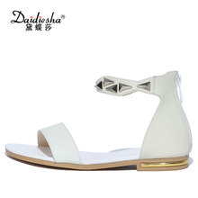 Daidiesha Plus Size 33-43 Genuine Leather Dress Back strap Sandals Metal Decoration Female's sexy sandals Mujer Zipper zapatos