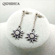 Fashion Vintage Silver-color Metal Edelweiss Drop Earrings For Women Multicolor Rhinestone Long Chain Party Jewelry