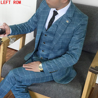 New Tweed Men Suits Plaid Terno Wedding Suit 1 Buttons Groom Tuxedos Tailored Wool Suits Custom Made (Jacket+pants+vest)