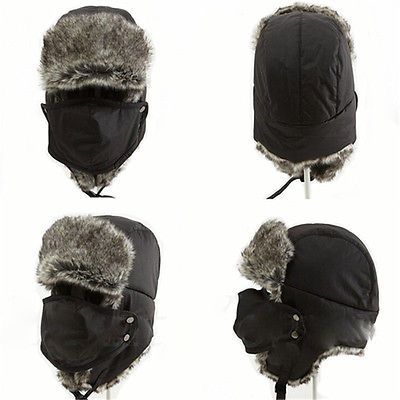 Men Women WinterWarm Earflap Aviator Trapper Bomber Snowboard Hat Caps with Mask