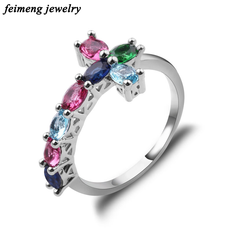 Polychromatic Trend Sideways Cross Ring Silver Color Rings Fashion Jewelry Colorful Crystal Vintage Wedding Ring for Women Anel