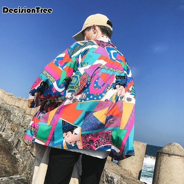 2019 summer Printed Japanese Style Kimono Jacket cardigan men clothing cardigan male streetwear hiphop casual coat loose kimono