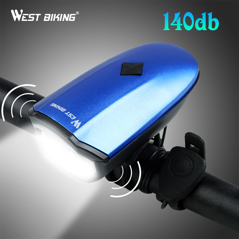 WEST BIKING Bicycle Front Bell Light 140 dB USB Rechargeable LED T6 Waterproof Handlebar Warning Outdoor Cycling Horn Light