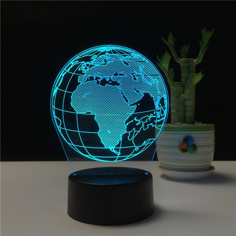 Creative Earth Globe Map 3D Lamp 7 Color Bedside Bedroom LED USB Night Light Home Decoracao Kis Gift Toy
