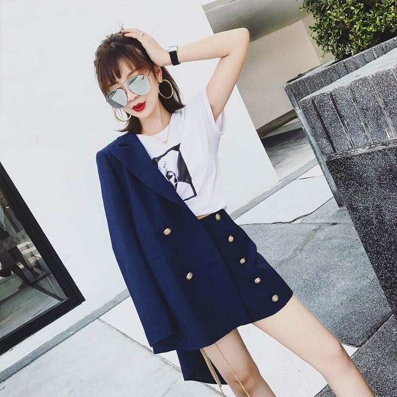 ELegant Office Lady Short Suit Set Women Jacket Blazer + High Waist Mini Pant