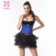 Corzzet Blue Leather Steampunk Underbust Corsets And Black Skirt Set Burlesque Sexy Gothic Waist Trainer Vest Corset And Skirt