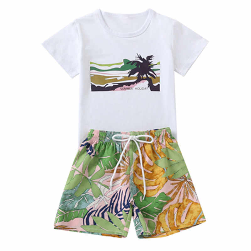 3927e55ffd Detail Feedback Questions about kids boys summer cotton t shirt with tropical  print shorts 2 pieces beach sets children boy fashion casual vacation set  ...