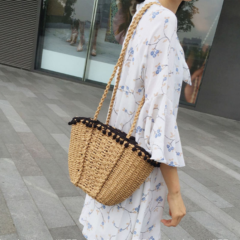 REREKAXI New Bohemian Beach Bag for Women Cute Handmade Straw Bags Summer Grass Handbags Drawstring Basket Bag Travel Tote 5