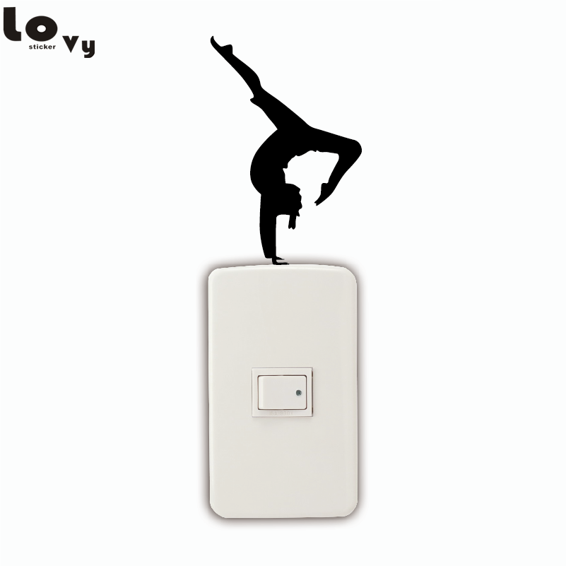 Fitness Girl/Dancer With One Leg Pointed On Light Switch Stikcer Silhouette Vinyl Wall Sticker Home Decor