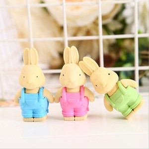 Image 4 - 27pcs/lot Cute Double leaf Bunny rubber design Eraser For Kids Lovely  Cute Stationery Children Gift