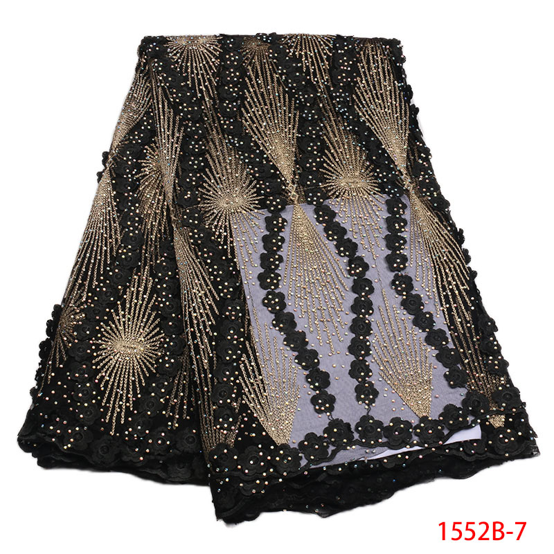 2018 African Tulle Lace Fabric High High Quality Net Swiss Voile Lace Black French Embroidery Nigeria Lace Fabric Gold 1552B-in Lace from Home & Garden    1