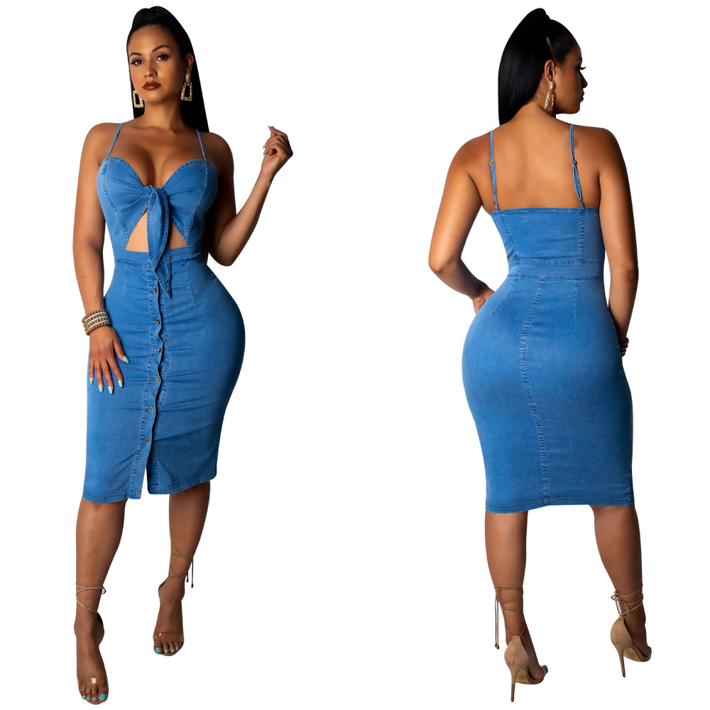 2019 new women summer spaghetti strap tie v-neck cut <font><b>sexy</b></font> <font><b>jeans</b></font> knee length bodycon <font><b>dress</b></font> mid-length denim casual <font><b>dresses</b></font> M905 image