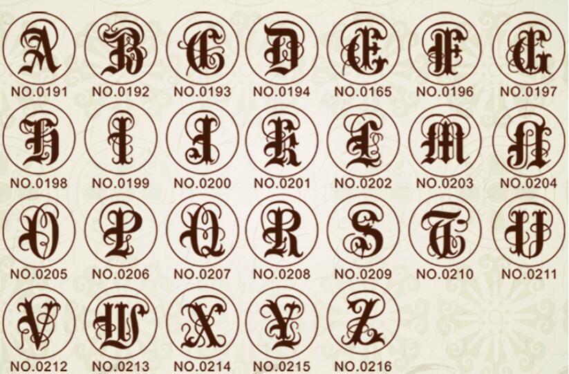 Wax Stamp Copper head Curlicue 26 Letters DIY Scrapbooking Vintage wax sealing stamp wedding/party invitation/envelop gift seal7
