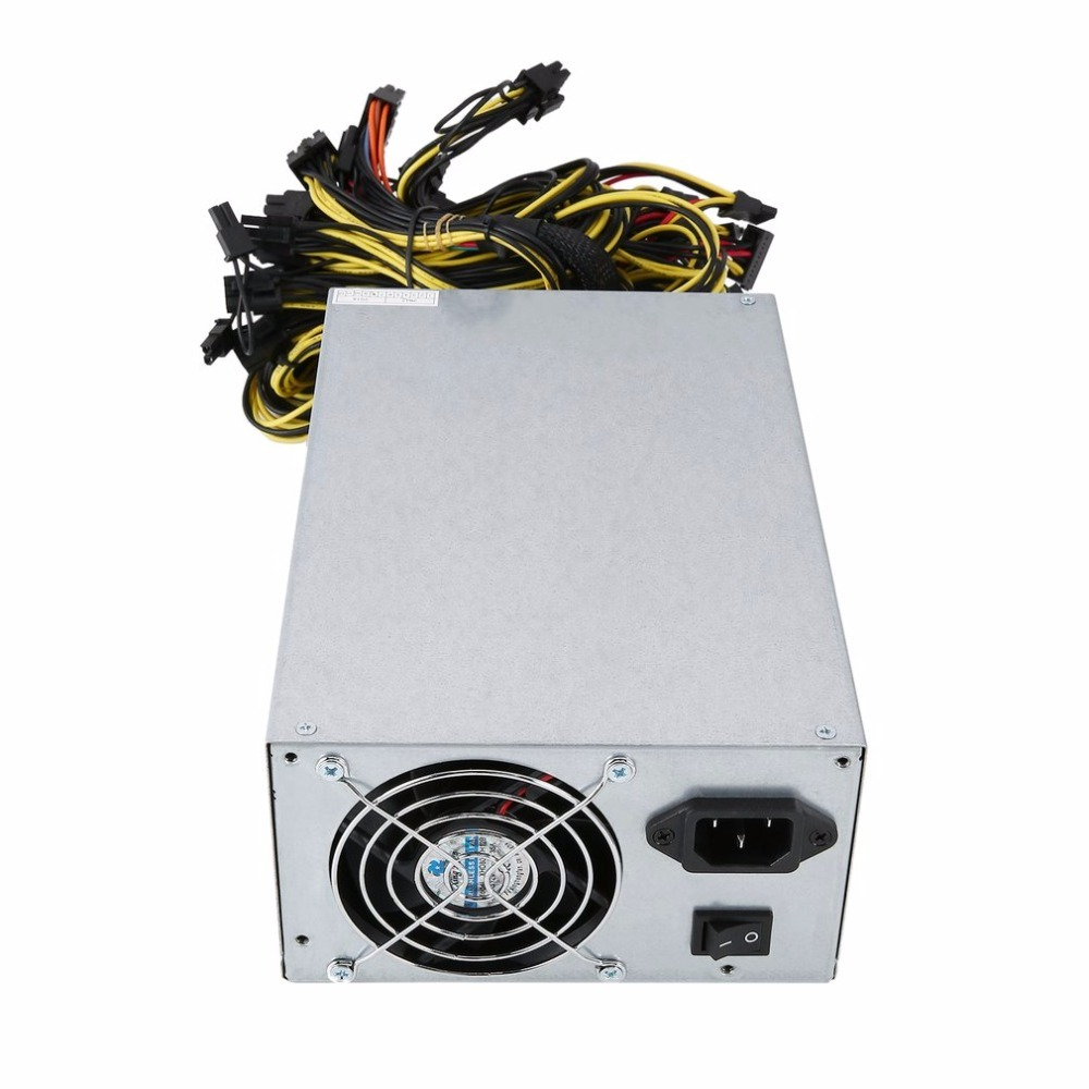 1800W High Efficiency Power Supply for ATX Coin Mining Miner Machine 6 GPU ETH BTC Ethereum with Low Noise Cooling Fan 2018 high efficiency rated 2200w power supply with emc with dual 8cm low noise cooling fans for bitcoin mining machine
