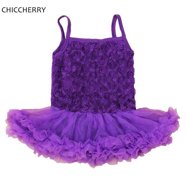 Purple Lace Rose Valentine's Day Infant Outfits Newborn Lace Tutu Harness Baby Dress Vestidos De Bebe Cute Toddler Girls Clothes