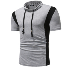 Male new casual T-shirt 2018 summer brand Tops Small stand collar design Elastic fabric short sleeve t-shirt men Tees large size