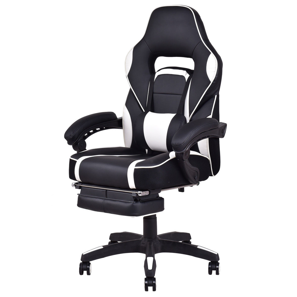 Costway Office Home Racing Style Executive High Back Gaming Chair W/ Ottoman
