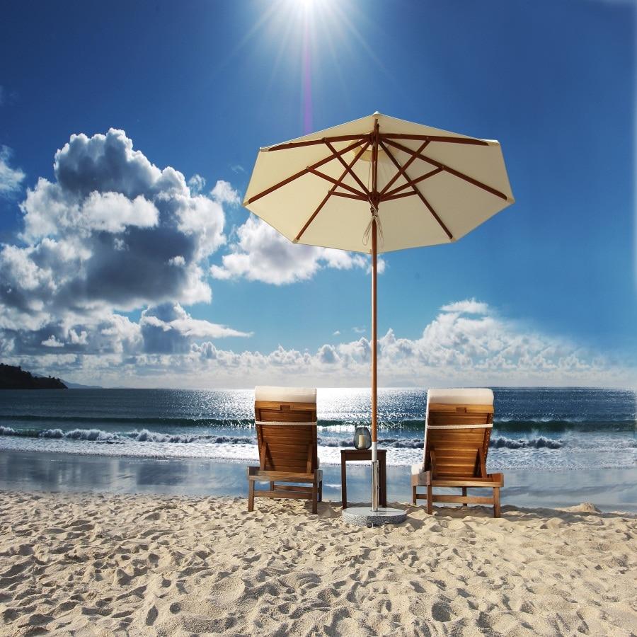 Laeacco Cloudy Sky Beach Chairs Umbrellas Sea Scenic Baby Photography Backgrounds Vinyl Custom Camera Backdrops For Photo Studio sea beach blue sky backdrops vinyl cloth computer printed wedding backgrounds for sale