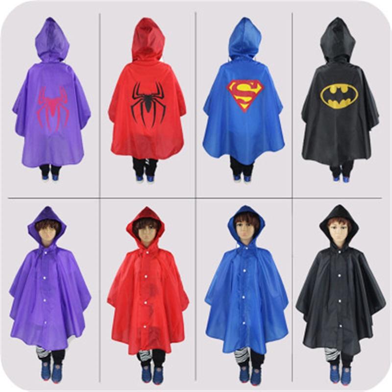 Kids Cosplay superman/spiderman Rain Coat raincoat for children Rainwear impermeable Rainsuit Kids Waterproof rain gear for kids