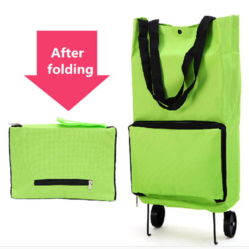 2 in 1 foldable shopping bag with wheels Reusable eco bags portable shopping cart handbag