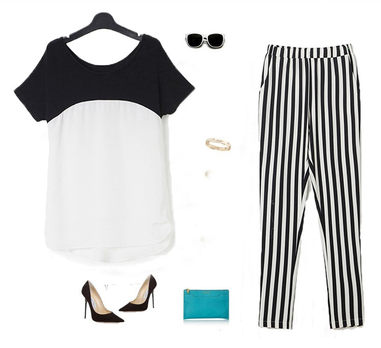 HTB11CyxQXXXXXcUXpXXq6xXFXXX0 - Black White Striped Pencil Trousers Elegant Ladies Pants PTC 182