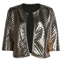 New Fashion Women J Lozenge Gold Sequins Short Jackets Three Quaters Sleeves Outwear Coats Female Casual Jackets Plus Size