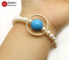 Женский браслет qingmos с круглым белым жемчугом 6 7 мм и искусственным