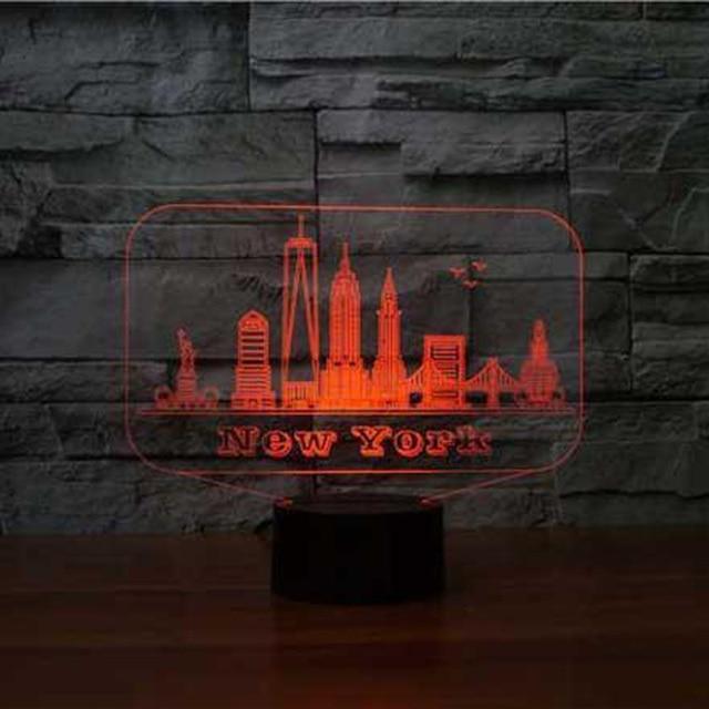 New York USA bâtiment 3D RGB veilleuse 7 couleur changeante enfants chambre 3D bureau lampe de Table pour la maison atmosphère lampe