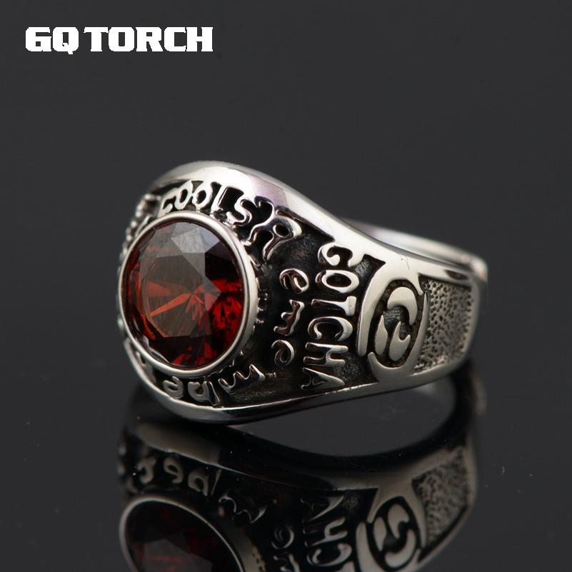 GQTORCH 925 Sterling Silver Rings For Women Wide Band With Red Cz Stone Vintage Type Gotcha English Letter Carving
