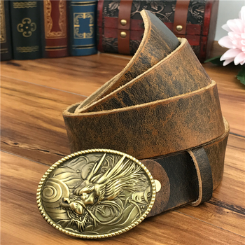 Brass Dragon Belt Buckles For Men Leather Belt Ceinture Homme Yellow Belt Cowboy Male Strap Wide Jeans Belts For Men MBT0530 - SALE ITEM Apparel Accessories
