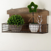 Wooden Wall Planters Shelves With Iron 1pc Handmade Wall Hanging Cabinet Storage Open Box For Garden