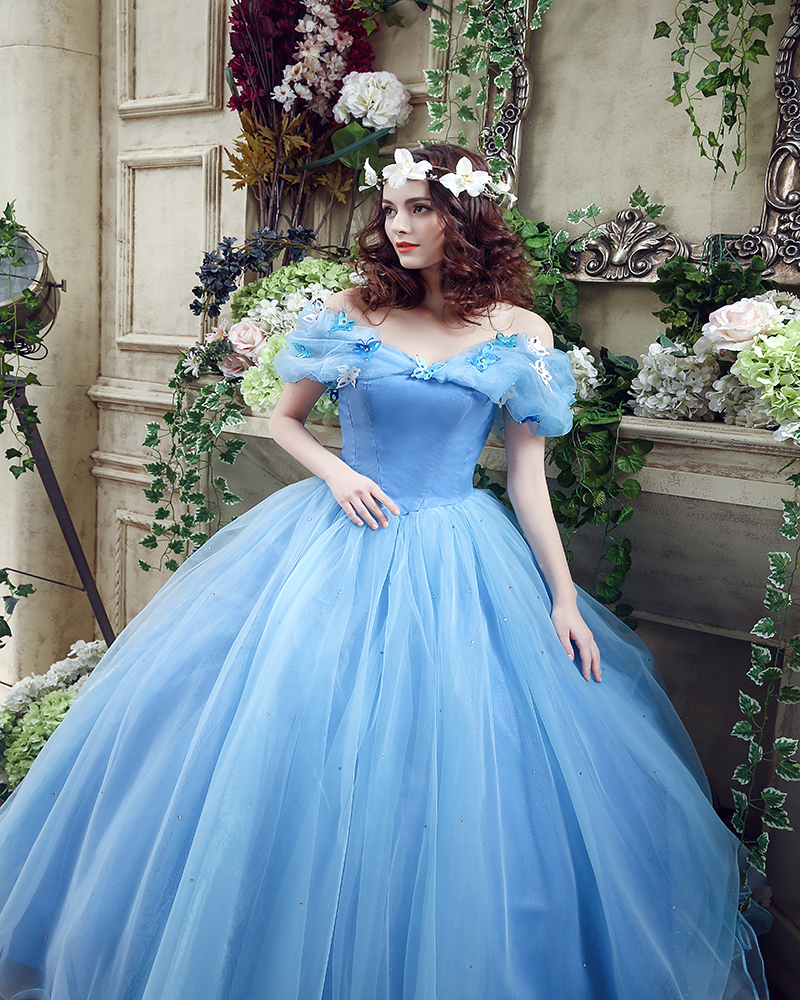 Online Shop New Movie Deluxe Adult Cinderella Wedding Dresses Long Blue Ball Gown Dress Bridal 2017 In Stock