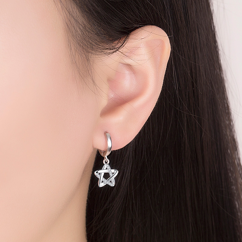 Promotion 925 sterling silver fashion shiny crystal star ladies drop earrings jewelry women Christmas gift drop shipping cheap in Drop Earrings from Jewelry Accessories