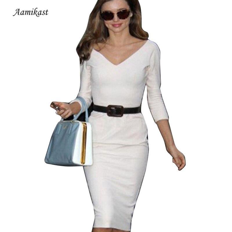 Nová móda Evropská americká šlechtična ženy obchodní výstřih na zip zpět strana sexy strečové tužky šaty s dlouhým rukávem