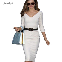 New Fashion European American Noble Women Business V-Neck Back Zipper Prom Party Sexy Stretch Pencil Dresses Long Sleeve Dresses